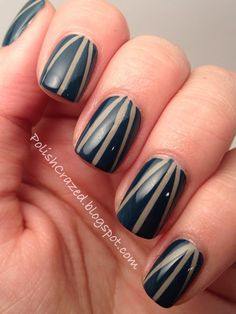 Polish Crazed  Striping tape mani