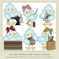Tiny Tweets Sewing Clip Art by Cheryl Seslar by marlodeedesigns, $1.35