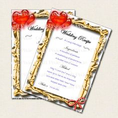 Printable Wedding Recipe Cards  by TheCraftPixie