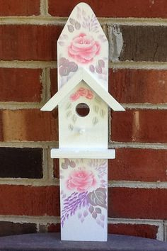 Wall Plaque, Birdhouse, Handpainted Roses, Shabby Chic, Cottage Chic, Blue, Pink, Lavender, Wisteria, Wall Decor by EclecticRush on Etsy