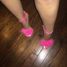 Pink furry heels Neon pink stiletto heels with fur detailing. Run half a size bigger. Original size 8 but fit as 8.5 Shoes Heels