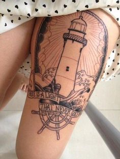 """""""There is a light that never goes out."""" lighthouse tattoo with frame"""