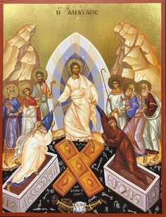Orthodox icon of the Resurrection of Jesus Christ our Lord Note: the sizes are not exact. Religious Images, Religious Icons, Religious Art, Greek Mythology Art, Roman Mythology, Archangel Raphael, Raphael Angel, Holy Saturday, Trinidad