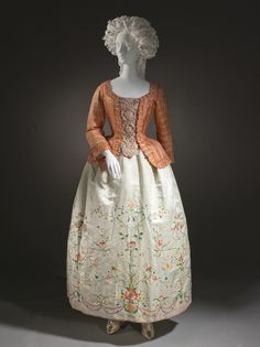 Woman's Petticoat, circa 1785  China, for the western market, Silk satin with silk embroidery LACMA Collections Online