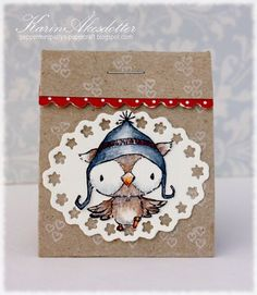 Gift box by Karin Akesdotter.  Stacey Yacula Studio owl stamp from Purple Onion Designs.