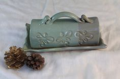 Lidded Butter Dish  Clearance  green & blue  by NewDayPottery