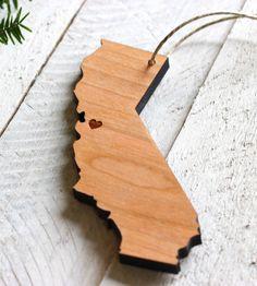 Custom State Heart Holiday Wood Ornament