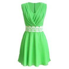 Dual-Ton V-Ausschnitt grün Plissee Kleid | Berlinmo