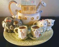 Precious Moments Noah Ark Mini Tea Set Figurines With Box