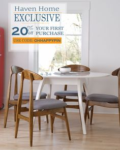 Haven Home furniture Phillip Dining Chair and Beckett Tulip Table