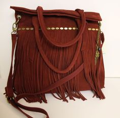 LUCKY BRAND NIRVANA CRANBERRY BOHO SUEDE FRINGE LEATHER TOTE/CROSSBODY BAG~$218 #LuckyBrand #TotesShoppers