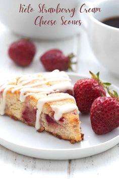 Keto Strawberry Cream Cheese Scones - All Day I Dream About Food Strawberry Scones, Fresh Strawberry Recipes, Cream Cheese Desserts, Cream Cheese Recipes, Cheese Scones, Paleo, Almond Flour Recipes, Bread Recipes, Keto Brownies