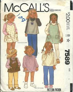McCall's 7589 Size 1 Toddler Girls Dress or Blouse and Jumper or Top Pattern…