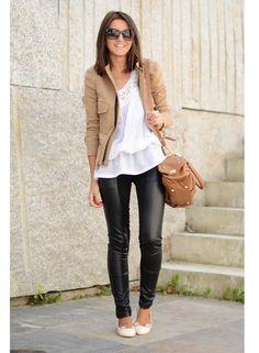 tan jacket, leather leggings