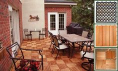 VIFAH V169 FSC Eucalyptus, Six horizontal slats per tile, Box of 10 tiles, covers 10 sqft., Outdoor covering for patios, decks, balconies, p...