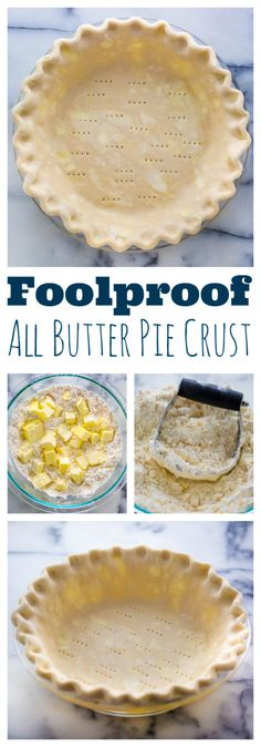 Foolproof All Butter Pie Crust - Baker by Nature My Foolproof All Butter Pie Crust is the ONLY pie crust recipe you'll ever need! This Foolproof All Butter Pie Crust is the ONLY pie crust recipe you'll ever need! Perfect for all of your pie baking needs. Pie Dessert, Dessert Recipes, Pastries Recipes, Appetizer Dessert, Cake Recipes, Just Desserts, Delicious Desserts, Doce Banana, All Butter Pie Crust