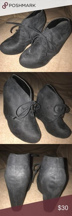 """Black Lace Up Booties Wedges Black Lace Up Bootie Wedges. Worn Once- basically brand new. I like a smaller wedge so It was just too high for me. About 5"""" wedge :) Soda Shoes Ankle Boots & Booties"""