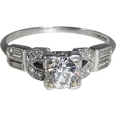 Art Deco Platinum Diamond Ring from BeJewelled on RubyLane.com