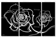 quadro moderno con rose in bianco e nero diviso in 3 parti disponibile su bimago.it / black and white paiting with roses on 3 canvas from bimago.com
