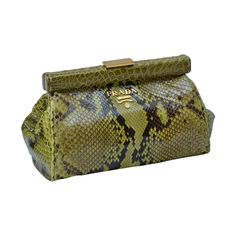 Prada  Green Python Clutch With Croc Trim New | From a collection of rare vintage clutches at https://www.1stdibs.com/fashion/handbags-purses-bags/clutches/