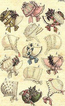 Los mobcaps o cofias de algodón blanco tan populares en el siglo XVIII y los primeros años del XIX utilizados para cubrir la cabeza en el interior del hogar y posteriormente utilizados por el servicio, fueron paulatinamente evolucionando hacia los bonnets,