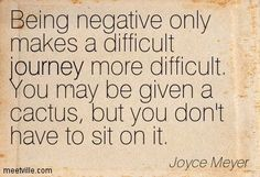 """Being negative only makes a difficult journey more difficult. You may be given a cactus, but you don't have to sit on it."" Joyce Meyer"