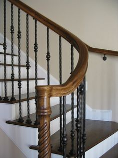 wood newel posts with iron balusters google search