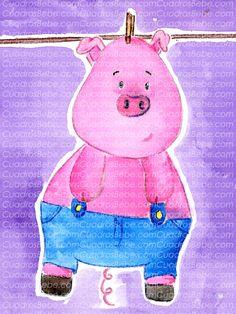 Cuadro bebe cerdo o cerdito de peluche, pintado a mano con pintura y acuarela, para la habitación o cuarto de los más pequeños de la casa