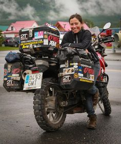 Alicia Sornosa (a general badass) and her BMW motorcycle on her road trip!    World traveler Alicia and the gang of Spanish moto globetrotters were staying at the same hotel in Valdez, AK. (From Dean Howard)