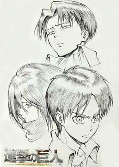 Shingeki no Kyojin Official Art - Eren, Mikasa, and Levi