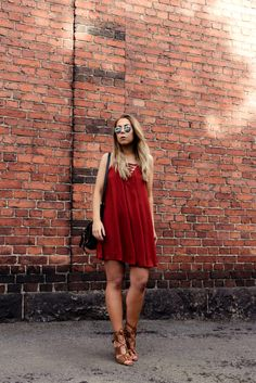rusty red dress and lace up sandals. #streetstyle #fashion