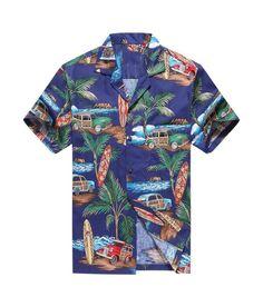 Made in Hawaii Men's Hawaiian Shirt Aloha Shirt Palm Surfboard Car in Blue