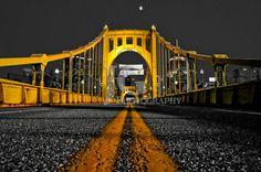 Pittsburgh Roberto Clemente Bridge (Cityscape, bridge, black and white, yellow, pirates)  JG Photography ©