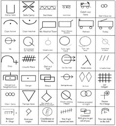 These are hobo symbols that describe an area where you may arrive during travels. Some are also little messages. I want so many of them and I want them all in stick and poke.