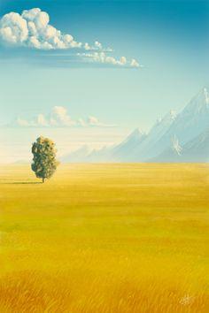 Fantasy Landscapes by Roberto Nieto - yellow & turquoise. Fantasy Landscape, Landscape Art, Landscape Paintings, Fantasy Art, Landscape Rocks, Landscape Lighting, Landscape Design, Environment Concept Art, Environment Design