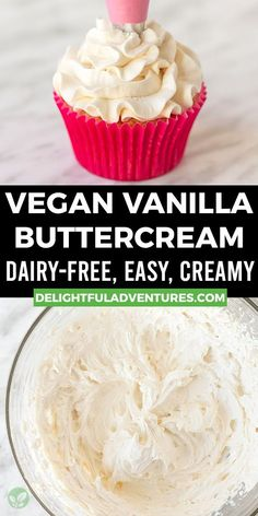 Creamy, dreamy, fluffy vegan buttercream frosting that's perfect for all of your cakes, cupcakes, cookies, and more! This 10-minute vegan vanilla frosting is not only easy to make and great for piping + decorating, but it's also gluten-free, and dairy-free…it's the best! Once you learn how to make this homemade vegan icing, you'll never buy the store stuff again! Easy Vegan Cake Recipe, Gluten Free Cupcake Recipe, Vegan Cupcake Recipes, Vegan Gluten Free Desserts, Gluten Free Recipes For Breakfast, Vegan Cupcakes, Vegan Treats, Vegan Buttercream Frosting, Vanilla Frosting