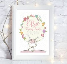A4 Personalised Christening New Birth Birthday by DaisyandDoodles