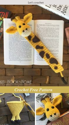 Crochet Amigurumi Giraffe Bookmark Amigurumi Crochet Free Pattern - This Giraffe Bookmark Amigurumi Crochet Free Pattern is a cute and fun way to encourage kids to start reading. Make one now with the free pattern provided by the link below. Crochet Giraffe Pattern, Crochet Amigurumi Free Patterns, Free Crochet, Crochet Bookmark Patterns Free, Easy Crochet Bookmarks, Crochet Dinosaur, Crochet Books, Crochet Gifts, Amigurumi Giraffe