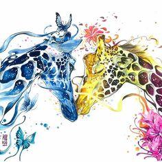"""Lovely Springs"" Watercolor on paper size 29,7x42cm 300gsm.  artjongkie.bigcartel.com  #watercolor #illustration #painting #artwork #animal #giraffe #watercolour #watercolours by #jongkie"