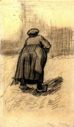 Peasant Woman Lifting Potatoes - Vincent van Gogh #art #impressionism #Van_Gogh @N17DG