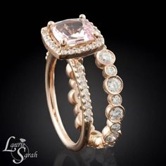 14kt Rose Gold Wedding Set with Pink Sapphire and Diamond Halo Engagement Ring and Bezel Set Diamond Eternity Band - LS2206