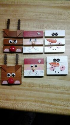 Children's puzzles from jenga blocks! Christmas Ornament Crafts, Christmas Wood, Christmas Signs, Christmas Projects, Holiday Crafts, Jenga Blocks, Wood Block Crafts, Dollar Tree Crafts, Diy Weihnachten