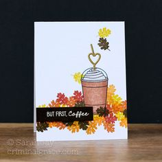 How about a pumpkin spice frappuccino made from paper? This card uses Lil' Inker Designs Coffee Talk and Nuts About You stamp sets.