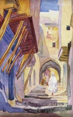 Alger rue Kleber by RenéHanin Renoir, Home Curtains, Horses, Horse Horse, Oeuvre D'art, Les Oeuvres, Morocco, Past, Mandala