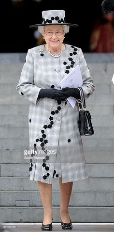 Queen Elizabeth II attends a Service of Commemoration to mark the end of combat…