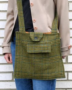 Green Plaid Suit Coat Messenger Bag  Slarack by Verne on Etsy