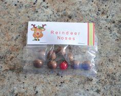 christmas treat bag ideas, reindeer noses