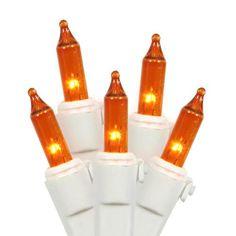 Set of 50 Orange Mini Christmas Lights - White Wire