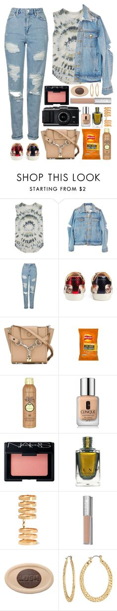 """""""4.632"""" by katrina-yeow ❤ liked on Polyvore featuring Raquel Allegra, Topshop, Gucci, Alexander Wang, Sun Bum, Leica, Clinique, NARS Cosmetics, Repossi and Fragments"""