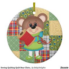 Sewing Quilting Quilt Bear Christmas or Birthday Ceramic Ornament Create Your Own, The Creator, Quilting, Kids Rugs, Bear, Seasons, Ceramics, Christmas Ornaments, Sewing
